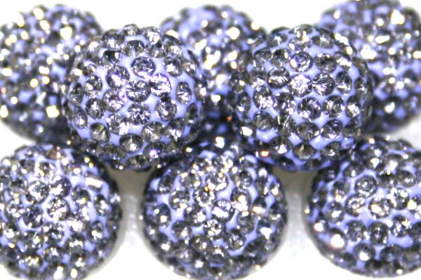 8mm Light Purple 70 Stone - Pave Crystal Beads- 2 Hole PCB08-70-014